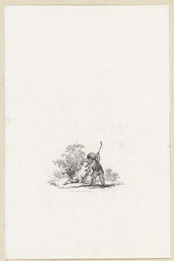 Reinier Vinkeles | Twee putti met een schaap en een herdersstaf, Reinier Vinkeles, 1751 - 1816 | Vignet met twee putti met een schaap en een herdersstaf. Illustratie bij het verhaal 'Paul et Virginie', over de liefde tussen een blank meisje en een blanke jongen die begin 18e eeuw samen opgroeien in een Franse kolonie.