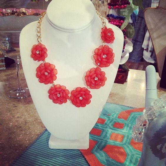 Coral, flower necklace