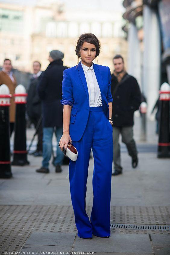 miroslava duma, cobalt women suit, streetstyle: