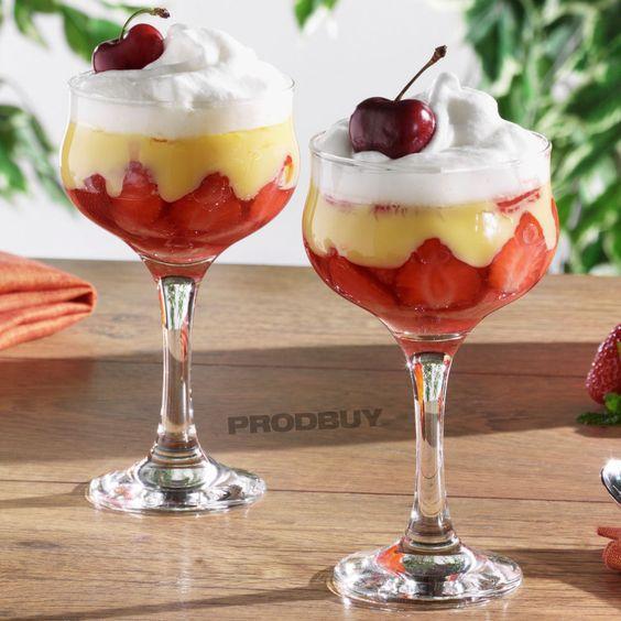Set of 6 Stemmed Tall Clear Glass Sundae Glasses Dessert Dishes Vintage Bowls