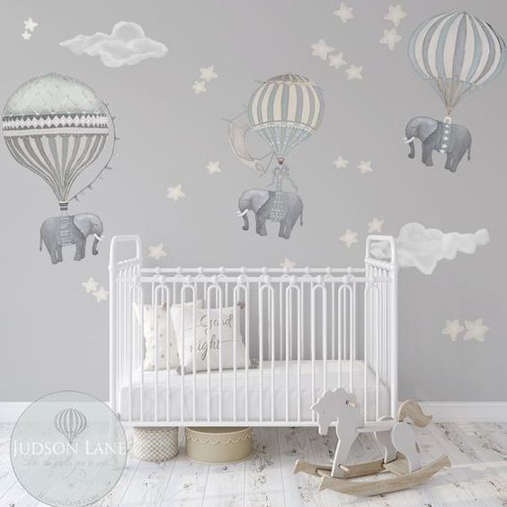 Float away in a dreamy land with these sleepy Elephants!  INCLUDED: Youll get everything you need to recreate this look;  1 Med sheet 29 X 36 inches tall  - 3 Elephants (2 awake and one is dreaming) and 3 balloons- Reposition able, washable, Wall decals  Large attached Ele & Balloon : 13.75 x24.5 ,