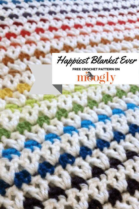 Free Crochet Pattern Queen Size Blanket : Happiest Blanket Ever - free crochet pattern on Mooglyblog ...