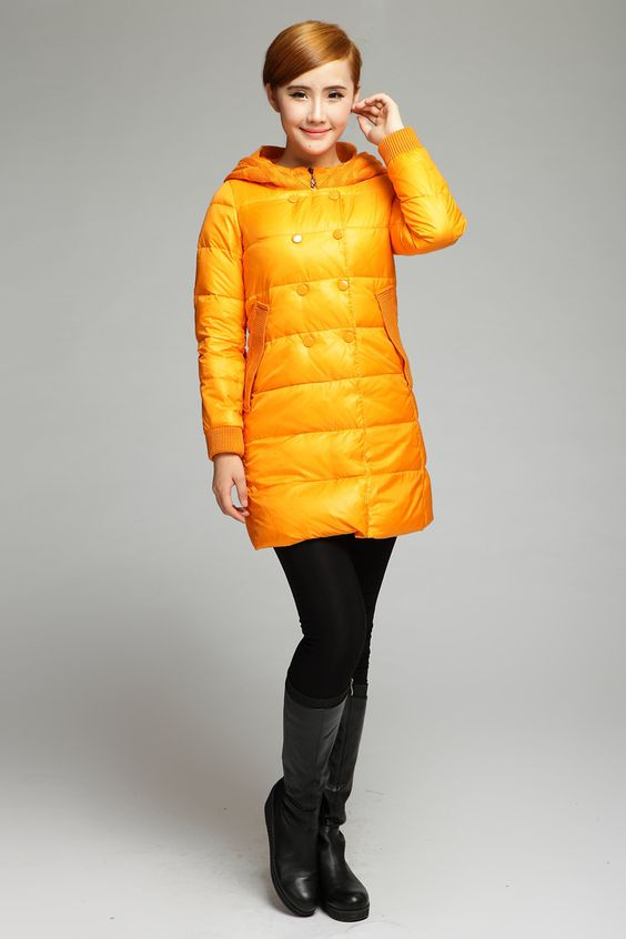 Free Shipping 2013 Newoo Brand Black/Yellow  Down Jackets For Women Winter Fashion Slim Style  Plus Size $108.00