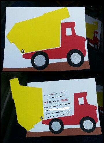 Construction Party invitation. Boy birthday dump truck