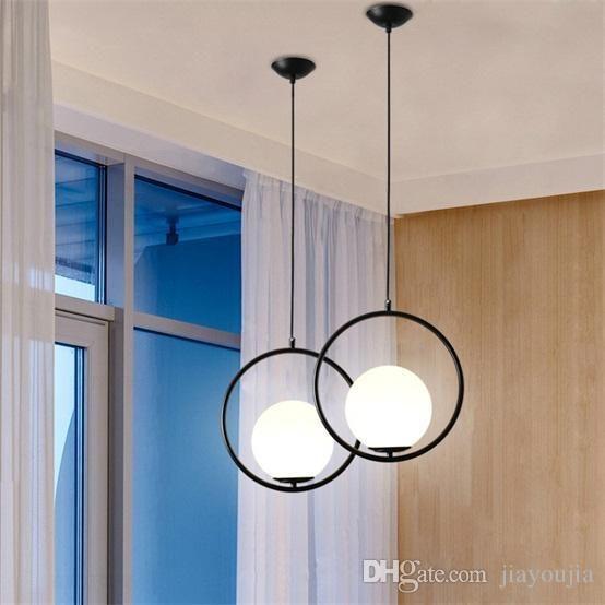 Contemporary Minimalist Metal Ring Globe Glass Shade Single Light Latest Day Wedding Products D Black Pendant Light Modern Ceiling Light White Lamp Shade