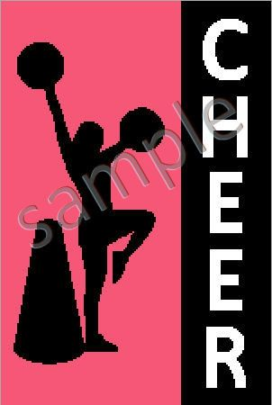 Cheer Cheerleader Silhouette Graph Afghan by JustKeepStitching2, $3.45