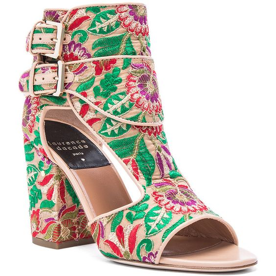 Laurence Dacade Bohemian Rush Embroidered Heels (€490) ❤ liked on Polyvore featuring shoes, pumps, bohemian style shoes, embroidered shoes, boho chic shoes, boho style shoes and nude pumps