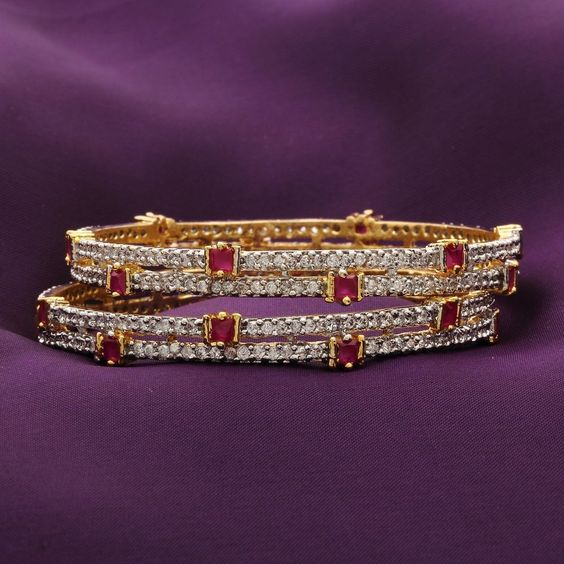 Wedding Gold Plated Fashion Jewelry Bridal Bollywood Indian CZ Bangles Bracelet #DesaiJewellers #Bangles