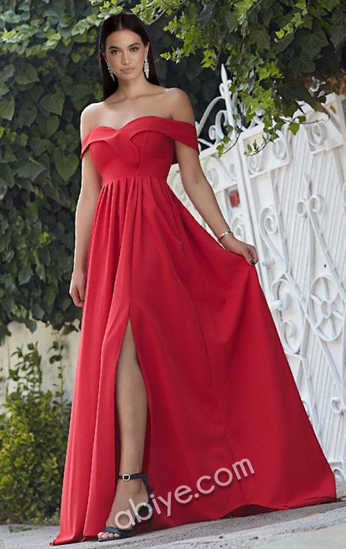 Kirmizi Yirtmacli Uzun Abiye Elbise Elbise Resmi Elbise Mankenler
