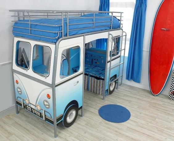 Volkswagen Bus + Loft Bed (built-in desk and seating below) - my 3 yo would LOVE this.