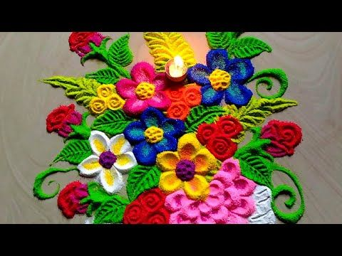 Beautiful Innovative Flowers Pot Rangoli For Welcome 2019 Youtube Rangoli Designs Flower Decorated Flower Pots Easy Rangoli Designs