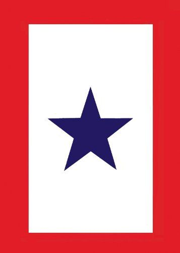 If you have a loved one off to war, you should display the Blue Star Service Banner.