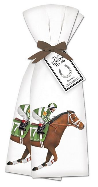 "Derby Horse Kitchen Towels. Set of two flour sack towels decorated with a bay racehorse and Jockey. Racing silks in green and white which coordinate with the saddle cloth. Towels nicely tied up in a brown ribbon. Great for drying dishes and cleaning up! Towels measure 30"" x30"". From Horse and Hound."