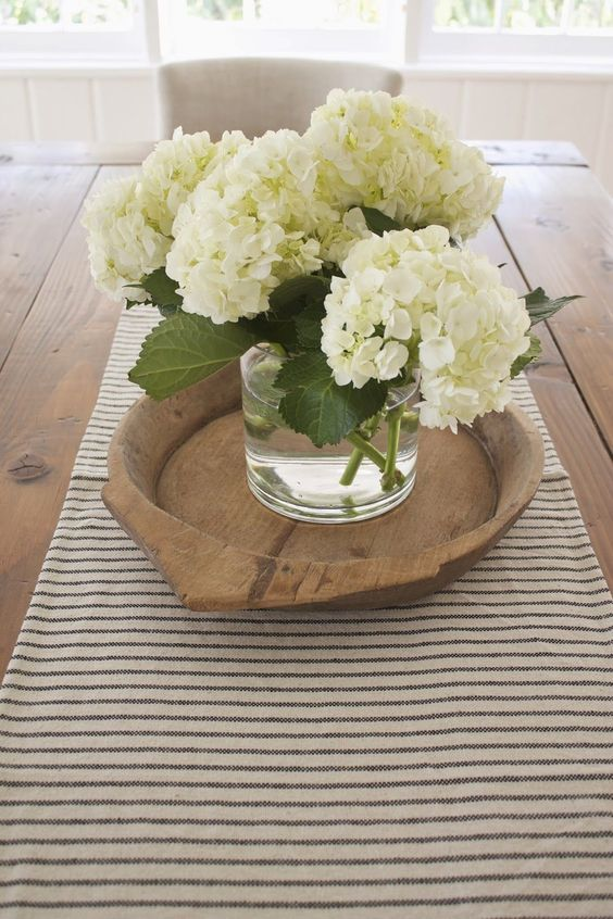 Nothing like a big hydrangea bunch on the table top for Dining table flower arrangements