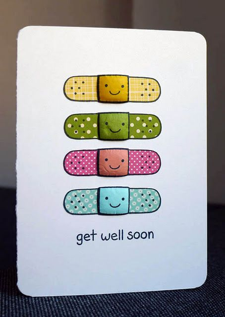 Amazing idea, you can make a card for an ill friend using bandaids or any other health product like bandages, etc... Be creative!!