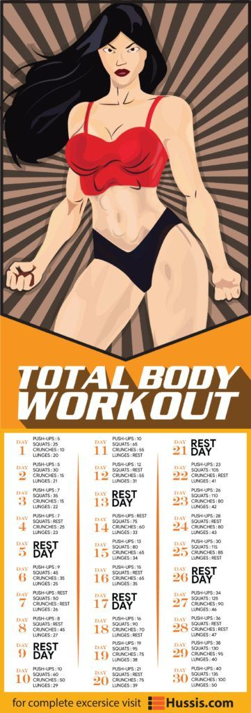 Total Body Workout Doing a 30 day total body workout challenge is one of the best things you can ever do! Why? Because doing this workout routine targets every single muscle in your body, from upper body to lower body.
