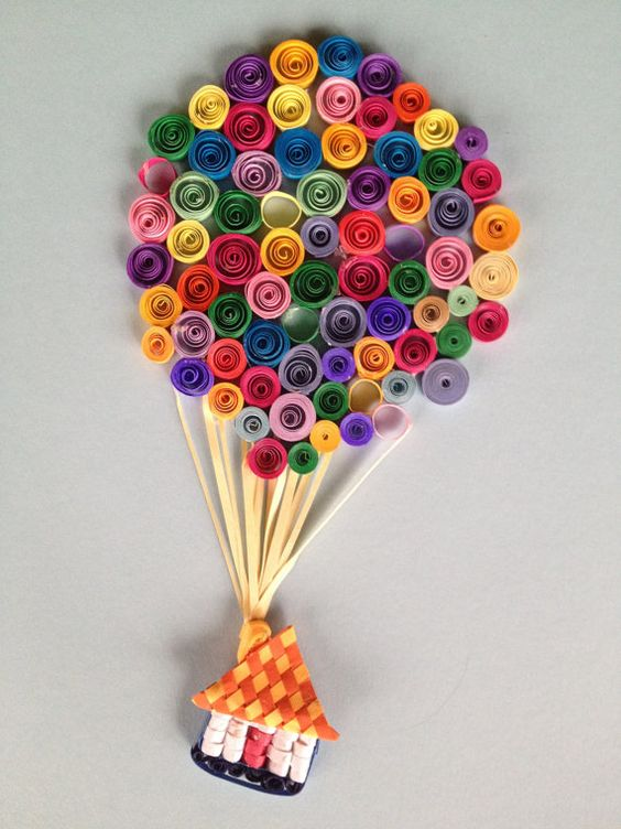 Quilled hot air balloon adventure paper strips quilling for How to use quilling strips
