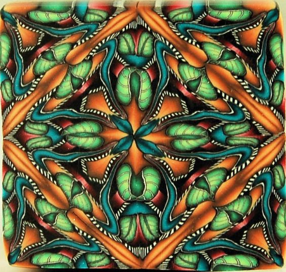 Square Kaleidoscope Polymer Clay Cane 'Summer by ikandiclay, $15.00