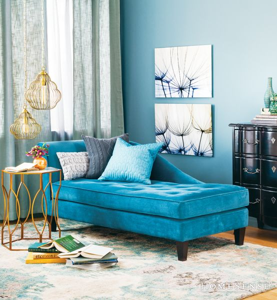 Beautiful furniture and style on pinterest for Blue chaise longue