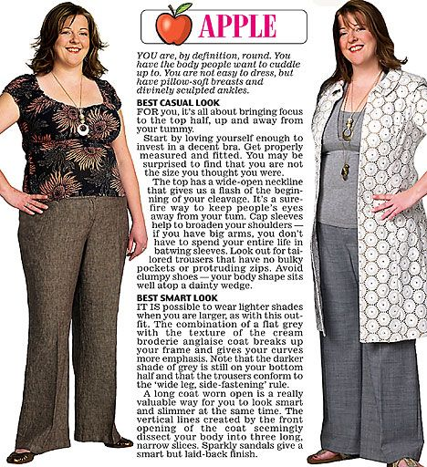 Trinny and Susannah show off the clothes to suit the apple women's body type.: