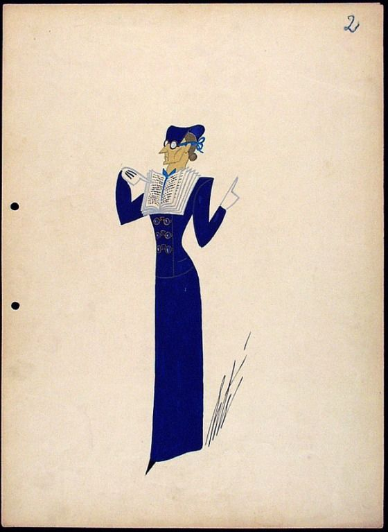 Erté, Costume Sketch, L'Institutrice (The Schoolteacher), Possibly for Scala Theater, Berlin, 1939.