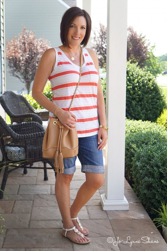 Casual Summer Outfit: Coral Striped Tank + Denim Bermuda Shorts I pretty much live in jean shorts in the summertime. I have a pair of cuffed knee-length shorts that I love! Fashion for the Modern Mom