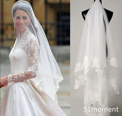 2015 Fingertip Length Lace Bridal Veil 2 Tiers White Ivory Blusher Wedding Veils | eBay