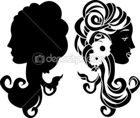 estêncil cabeça feminina — Ilustração de Stock #5044950