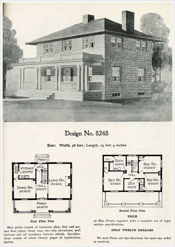 Traditional Model 8248 Radford Cement Homes 1909 Concrete Block Construction Vintage House Plans Cement House Four Square Homes