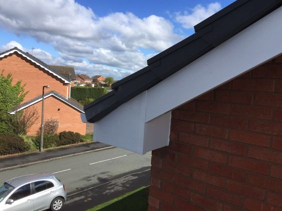 And white #upvcfascia #soffits and #guttering #French doors,#patio doors,#Fascia Soffits guttering,#Cladding,#Conservatives,#Flatrubberroofs
