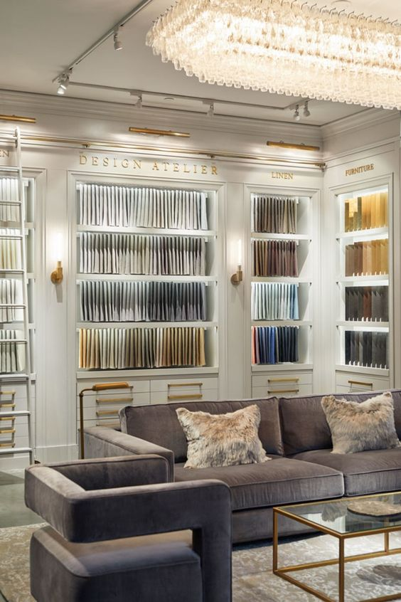 RH New York | Design library setting, fabric swatches on wall