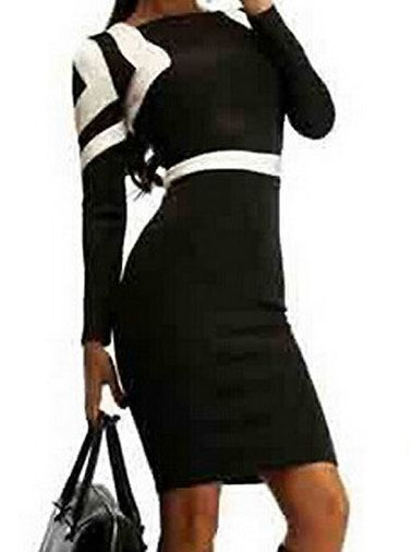 Lady's Contrast OL Style Oversize Hip Package Bodycon Dress Black on buytrends.com