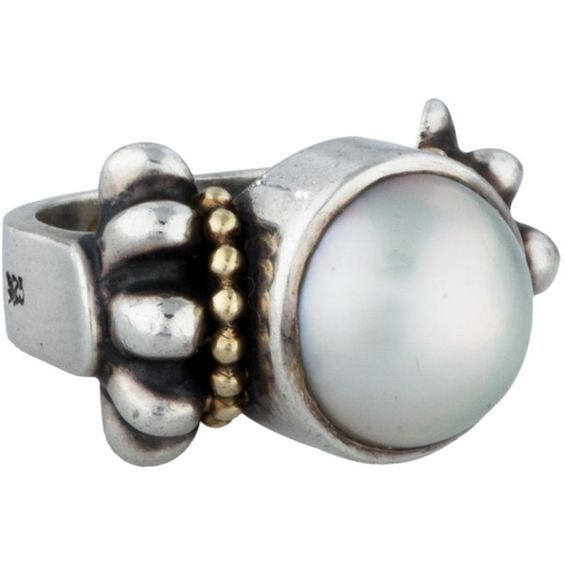 Pre-owned Lagos Mabé Pearl Cocktail Ring ($225) ❤ liked on Polyvore featuring jewelry, rings, silver, 18 karat gold ring, pearl jewellery, lagos jewelry, white pearl jewelry and white pearl ring