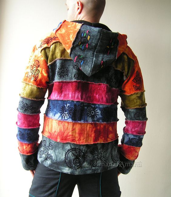 Cotton Knitted Rainbow Patchwork Jacket - Pixie - Hippie - Men ...