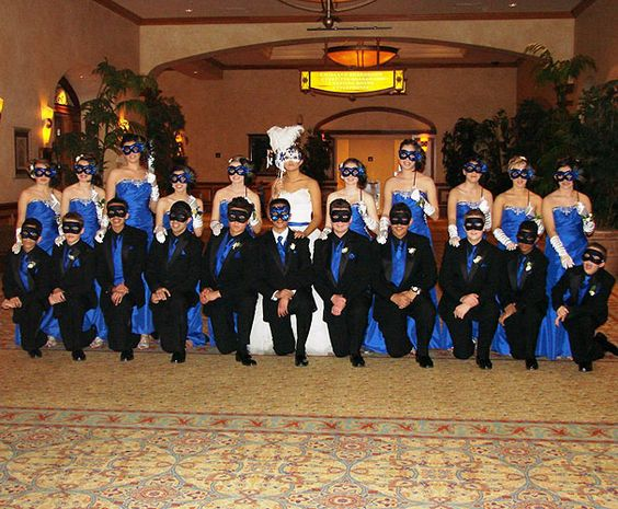 Masquerade Themed Quinceanera With Damas And Chambelanes In Full
