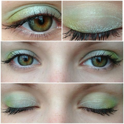Sleek i-candy- 1. I used Sour Apple all over the lid 2. Secondly using a fluffy brush I blended Mint Cream into the crease of my eye to blend the colours together 3.Finally I used Pear Drop into the corner of the eyes to give more depth to the eyes