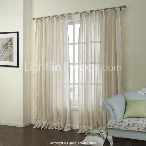 Sheer Curtains beige sheer curtains : Two Panels Curtain Neoclassical , Stripe Bedroom Linen Material ...