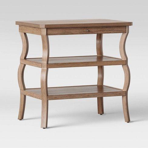 Shelburne Wood Nightstand With Open Shelves Brown Threshold Wood Nightstand Open Shelving Wooden Nightstand