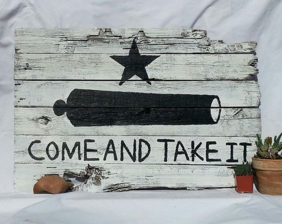 """Rustic style Texas Battle of Gonzales """"Come and Take It"""" Flag using recycled / salvaged wood on Etsy, $79.00"""