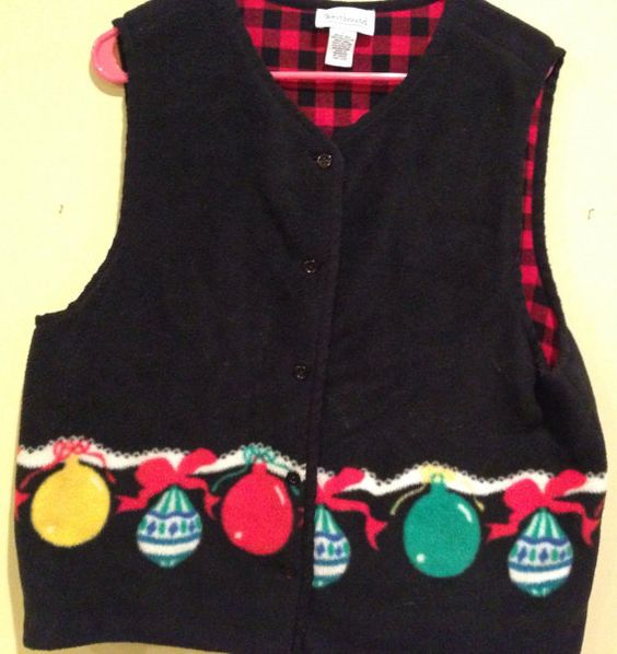 Ugly Christmas Sweater_fleece ornament vest_L on Etsy, $15.00