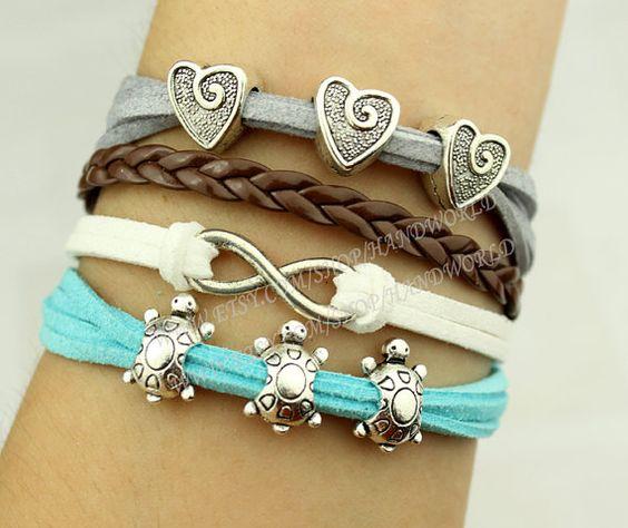 silvery infinity karma bracelet cute little heart bracelet cute little turtles bracelet friendship gift-N2018