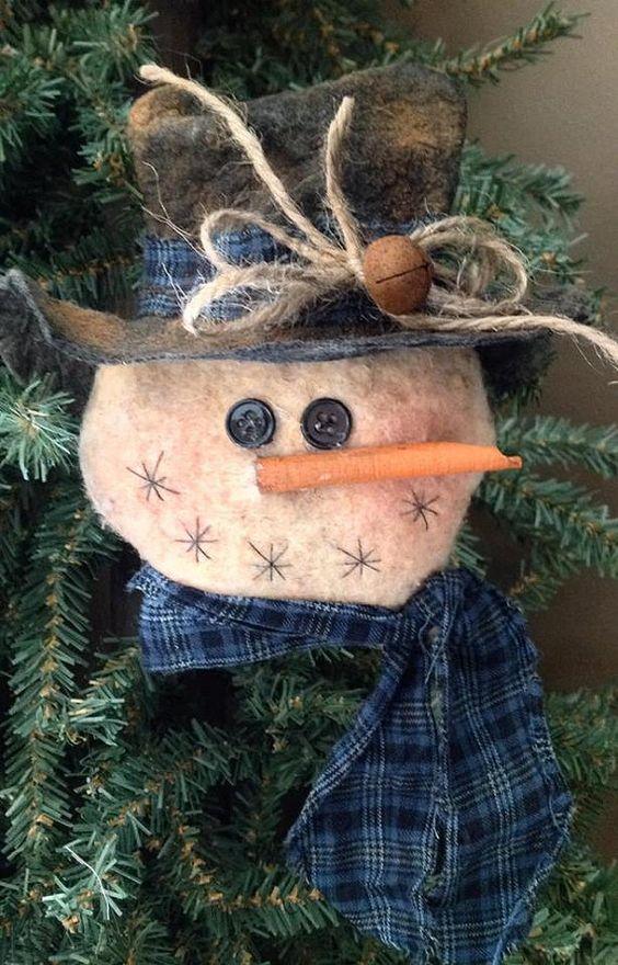 Primitive Stuffed Snowman Ornament by BeaverBoutiquePrim on Etsy, $5.00