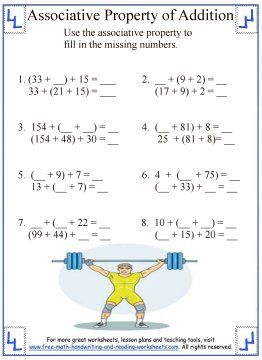 math worksheet : associative property properties of addition and addition  : Property Of Multiplication Worksheets