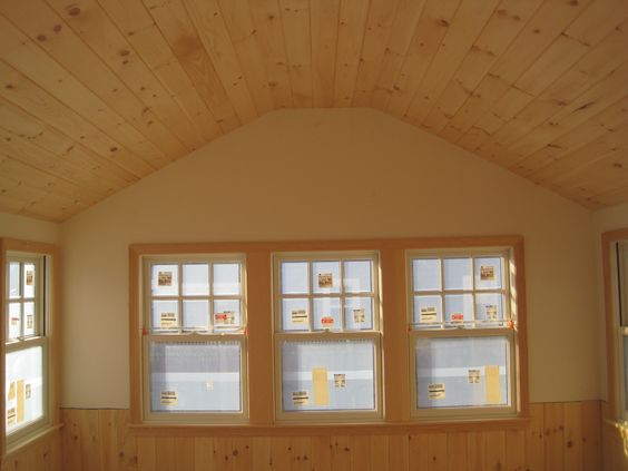 Pine ceiling and wainscoting favorite for kitchen for Wooden camp kitchen designs