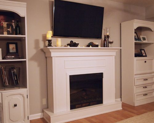 Inspiration for decorating the mantel without blocking the view of the TV.