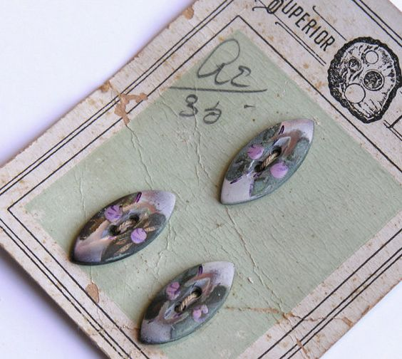 Fabulous Antique Handpainted Mother of Pearl Buttons by veraviola, $25.00