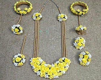Yellow Flower Pearl Jewellery Set Earrings Ring Jewellery Set Tikka Maang Necklace