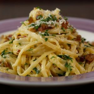 Carbonara Recipe on Rachael Ray show.  Her husband's favorite recipe.