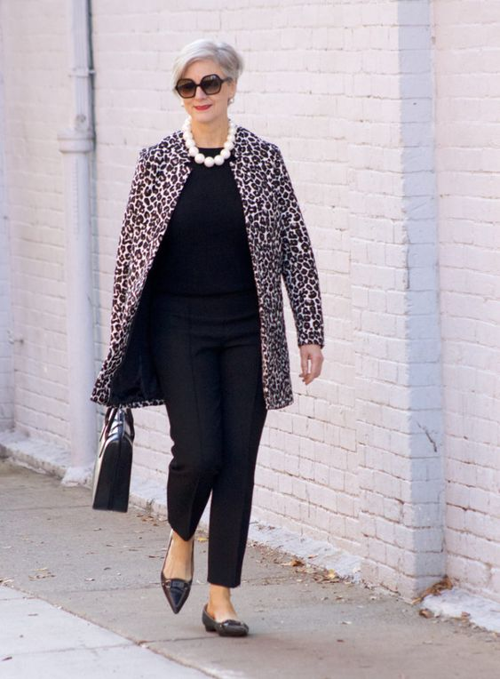 dorothy perkins leopard coat, ann taylor black pants, black cashmere sweater, j.crew pointy toe flats