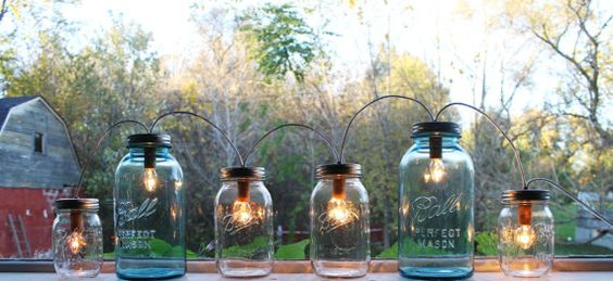 Mason Jar Lights - Banner Style Modern Industrial Rustic Farmhouse String Party Lights - Handrcrafted Upcycled BootsNGus Lighting Fixture